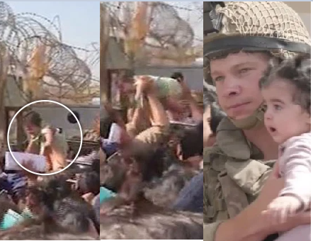 Sad Moment! Afghan mums throw their babies over barbed wire fences and beg British soldiers to take them to safety