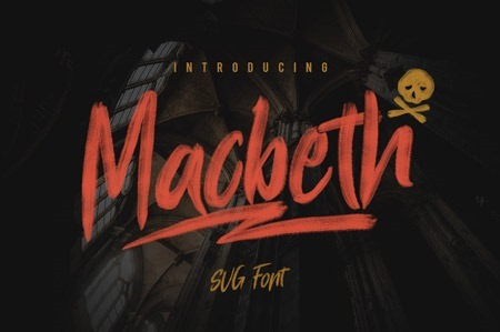 Macbeth, pintada a brochazos, formato Open Type-SVG