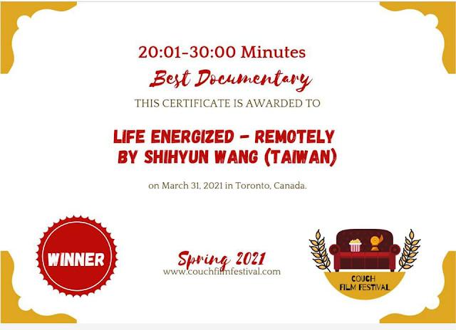 加拿大多倫多寶座影展~2021年1-3月(春季)  影片:生氣蓬勃(英文版) 得獎:最佳紀錄短片 製作:國際導演王世昀