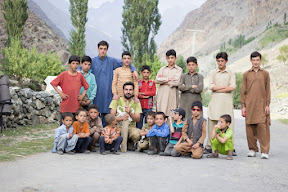 Gathering with the cricket team at Pingul, Ghizer Valley