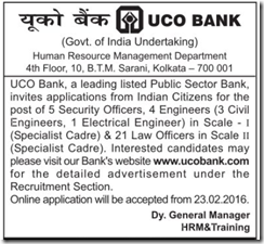 UCO Bank Specialist Officers 2016 indgovtjobs