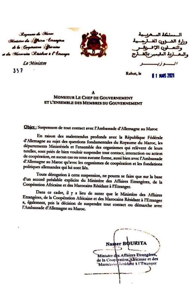 ⭕ URGENTE | Marruecos suspende los contactos diplomáticos con la embajada de Alemania en Rabat.
