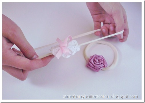 Pretty baby head bands using tights.