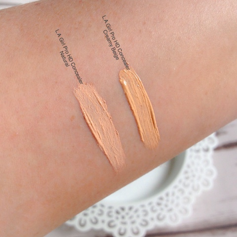 L.A Girl Pro HD Concealers Swatches, Natural And Creamy Beige