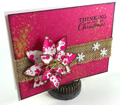 Linda Vich Creates: Rustic Poinsettias. Reminiscent of vintage enamel ware pots and pans, dappled poinsettias in vibrant hues embellish rustic, burlap trimmed cards.