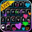 Doodle Neon Hearts Keyboard Theme icon