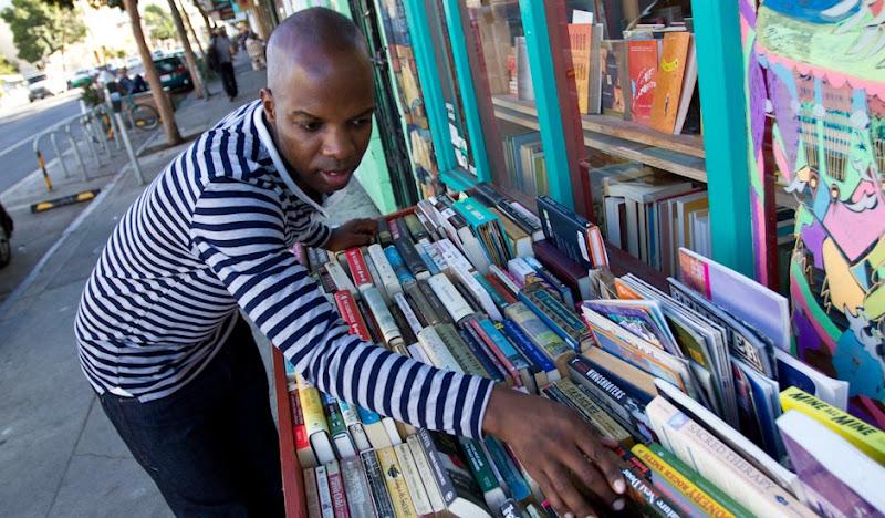 Blue Henley Book Shopping
