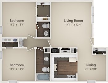 Go to Two Bed, 1.5 Bath B Floorplan page.