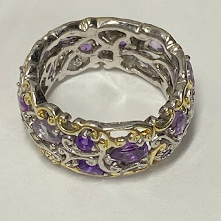 Sterling Silver, Vermeil, and Amethyst Ring