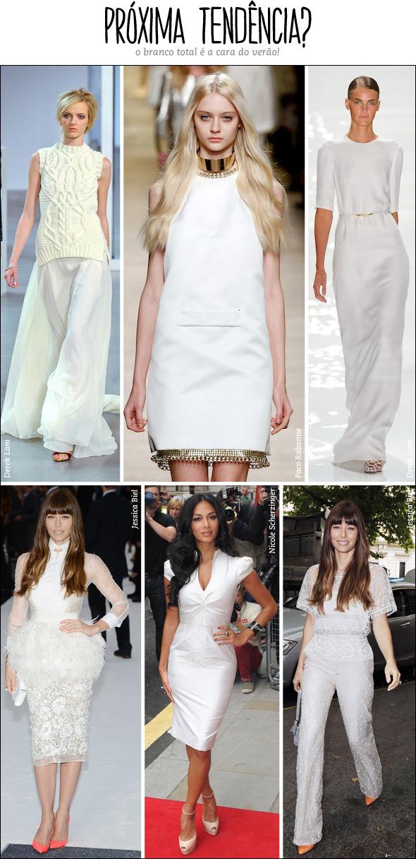 98bc39502 ... brancos já apareceram nas passarelas (mas isso nem é novidade!) e agora  começam a ganhar as ruas. Nicole Scherzinger usou um vestido branco com  salto ...