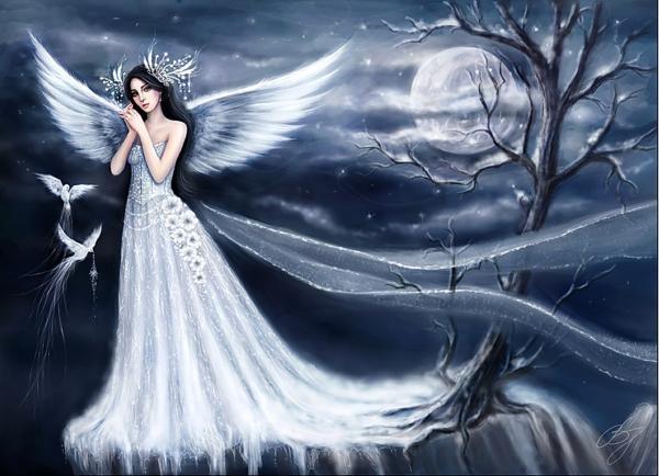 White Girl Angel In The Fog, Angels