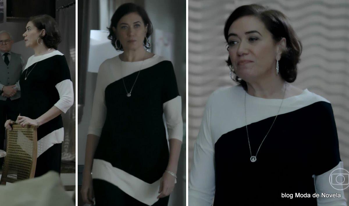 moda da novela Império - look da Maria Marta com vestido P&B dia 26 de agosto