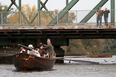 Crossing under the Salem Street Bridge, RE-ENACTORS ON  BATTOE 'MOON' ON THE HACKENSACK RIVER. Photos by TOM HART/  FREELANCE PHOTOGRAPHER.