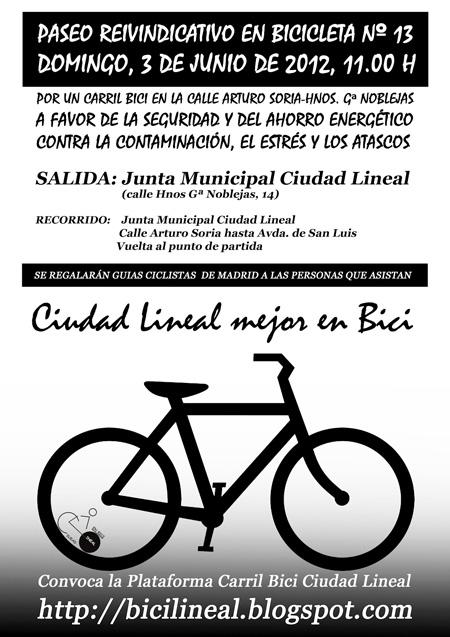 Paseo reivindicativo por un carril bici en el eje Arturo Soria