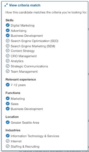 criteria match linkedin job application