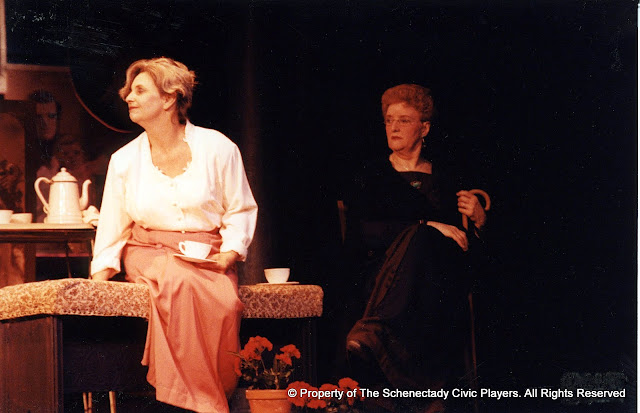 Kathy Yezzi and Pearl Albrechtson in in LOOK HOMEWARD, ANGEL (R) - March 1994.  Property of The Schenectady Civic Players Theater Archive.