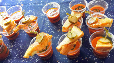 Portland Monthly Country Brunch 2015, Bloody Mary Smackdown entry from The Original of The OG Soup, Sandwich and a Pickle Bloody Mary. Comfort food in a glass, this Bloody Mary features a housemade 'tomato soup' and a mini grilled cheese with pimento cheese