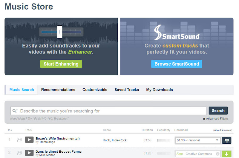 圖八 Vimeo Music Store