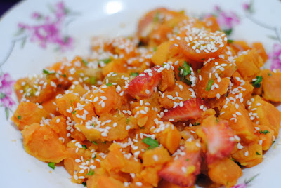 easy sweet potato recipe ServicefromHeart garlic cilantro sesame oil
