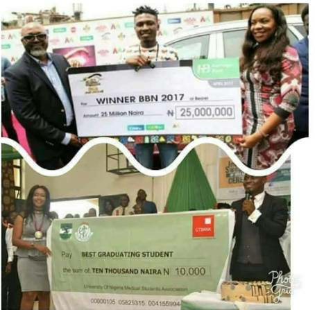 Seyi Law's reaction to viral photo comparing BBNaija's prize money and a best graduating student's