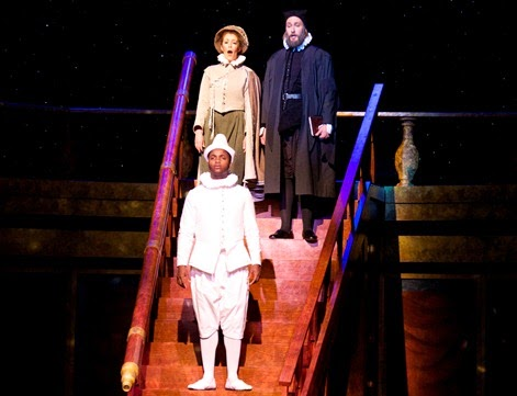 IN PERFORMANCE: (left to right) Deon'te Goodman as Simplico, Lydia Pion as Sagredo, and Derek Gracey as Salviati in Scene 5 of Philip Glass's GALILEO GALILEI at UNCG Opera Theatre in April 2015 [Photo by Amy Holroyd, © by UNCG Opera Theatre]
