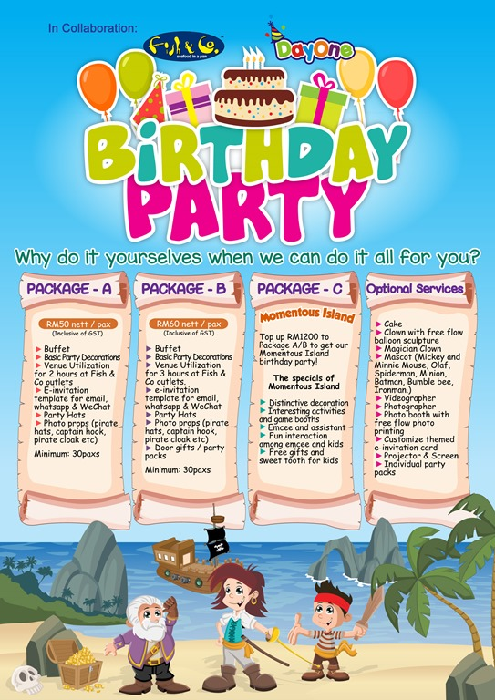 Birthday Party Package Rate