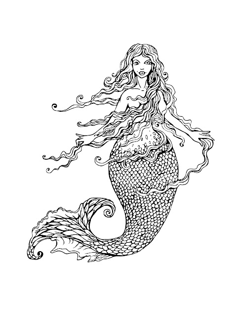 Free Coloring Page Coloringadultmermaidwithlonghairby