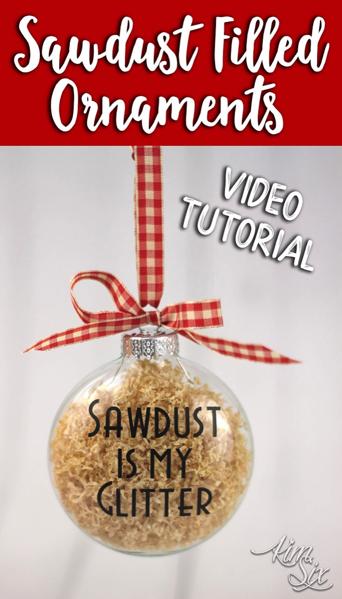 """Sawdust is My Glitter"" (or you could use ""Sawdust is Man Glitter"") ornaments.. filled with REAL SAWDUST. I love this idea for woodworkers or craftspeople!"