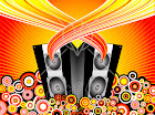 28183-Clipart-Illustration-Of-Sound-Flowing-From-A-Pair-Of-Black-Music-Speakers-Surrounded-By-Circles-On-A-Bursting-Background.jpg