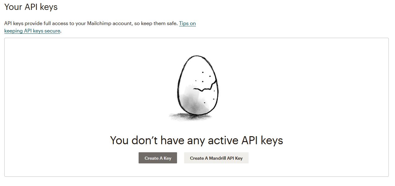 Mailchimp Create New API Key