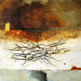 'Falling Into Winter I' 10x10 Mixed media, beeswax, oil on canvas SOLD