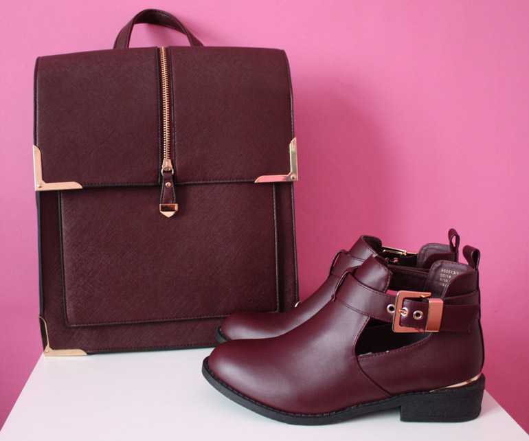 fashion high street burgundy backpack leather ankle boots