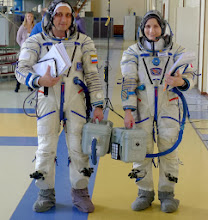 Photo: And ready you are! If it's a warm day, you might connect the ventilation hose to a portable ventilator to keep cool before you connect to the ventilation system in the Soyuz (or, more often, the Soyuz simulator).