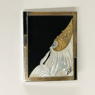 14K Gold, Sterling & Diamond Erté Portrait Brooch