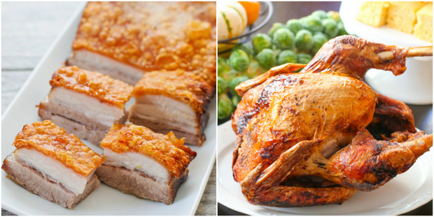 photo collage of pork belly and fried turkey