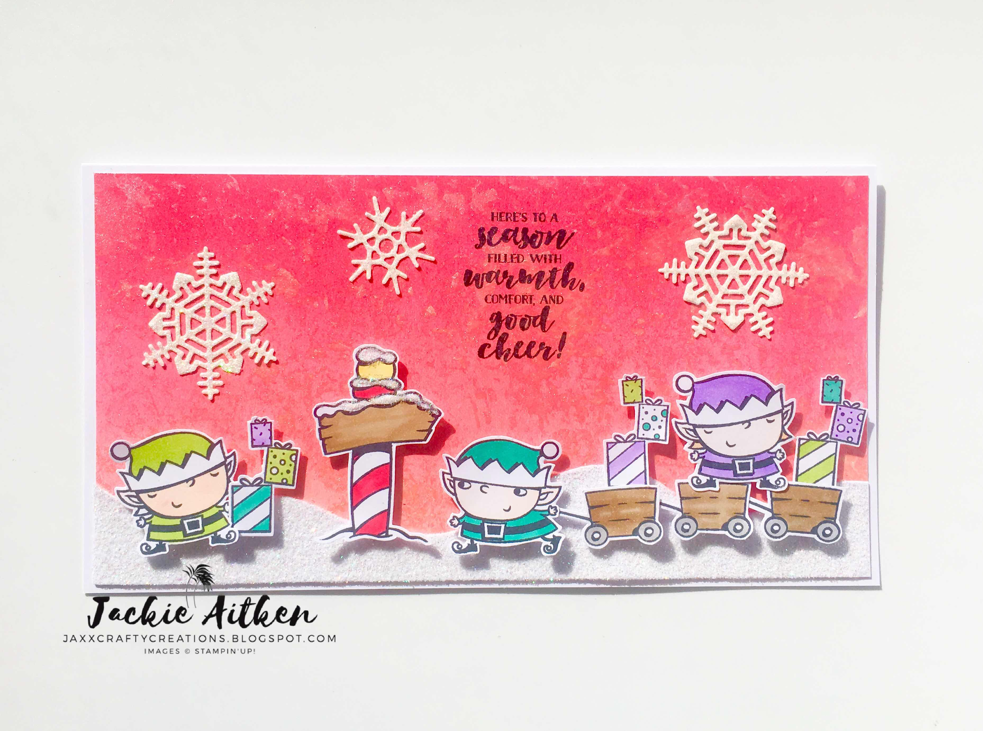 stampin up signs of santa, christmas card,  jaxx crafty creations, sponged background, stampin' blends, first frost stamp set