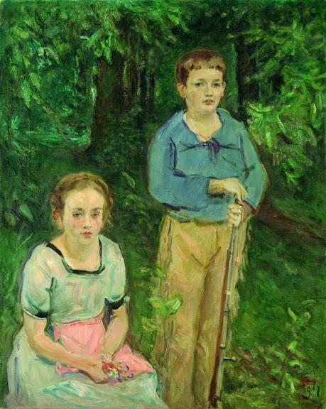 Max Slevogt - Nina und Wolfgang Slevogt (Kinder im Wald), 1917