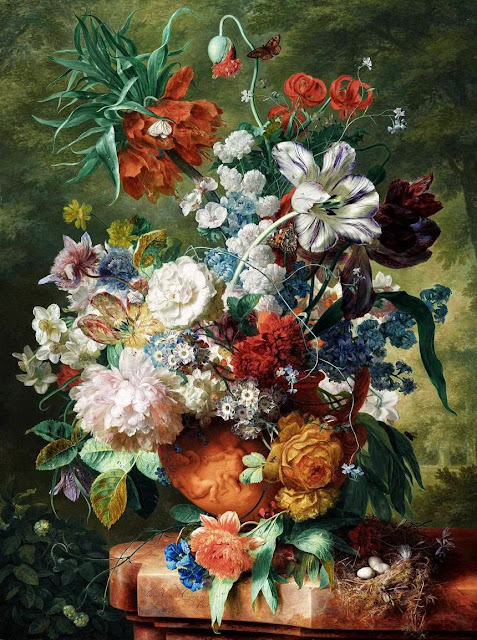 Jan van Huysum - Still Life of Flowers and a Bird's Nest on a Pedestal