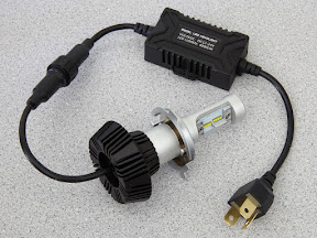 Photo of H4 LED bulb and driver module