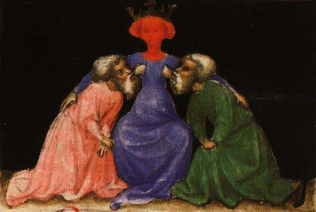 Aurora Consurgens Manuscript Fig2 Two Wise Men Are Nourished By A Sophia Figure, Hermetic Emblems From Manuscripts 1