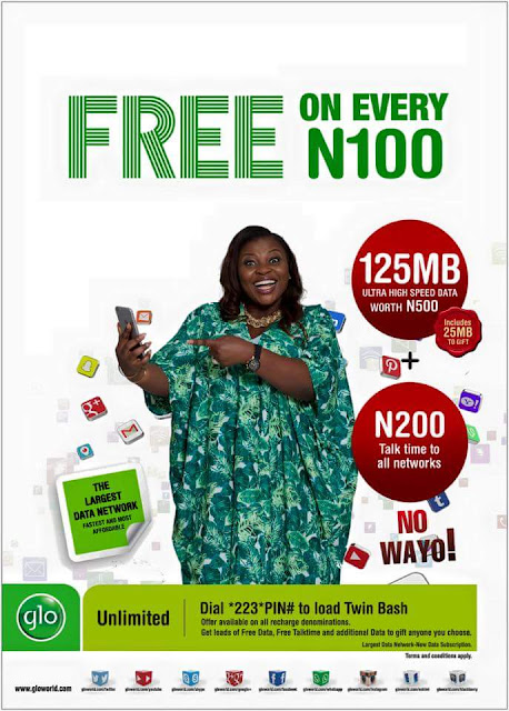 GLO introduces Twin Bash Offer - Get 125mb BONUS For Recharging 1