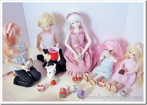 Having a bjd tea party, with one problem.  Not enough cups!