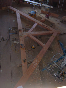 We Built three raised bottom chord trusses for the Downing Chapel.