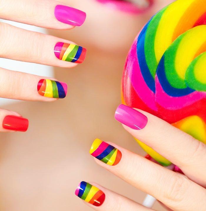 Beautiful rainbow nail art design