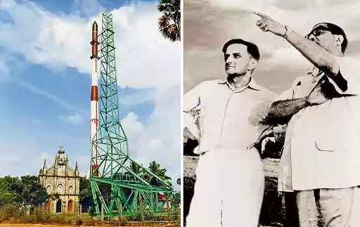 Dr.vikram sarabhai after first rocket launch in kerala,india