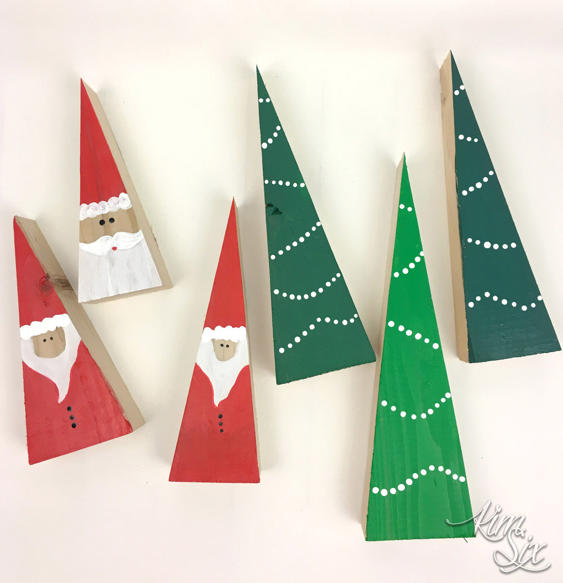 Painted wood block santas and trees