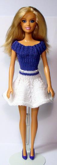 Сине-белое платье для Барби
