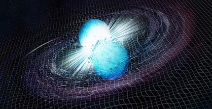 ilustração da fusão de duas estrelas de nêutrons