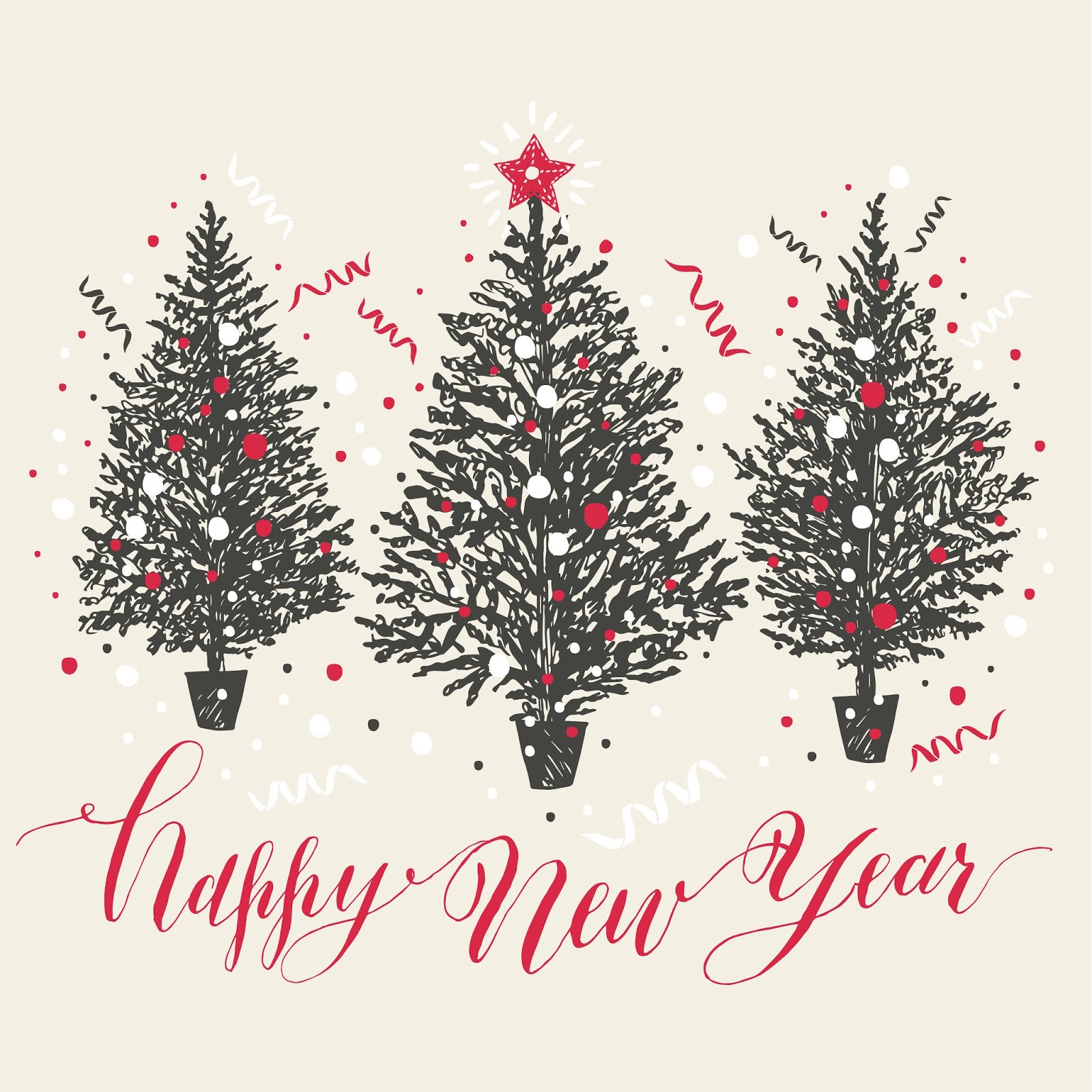 Hand Drawn Christmas Card New Year Trees With Snow Confetti Free Download Vector CDR, AI, EPS and PNG Formats