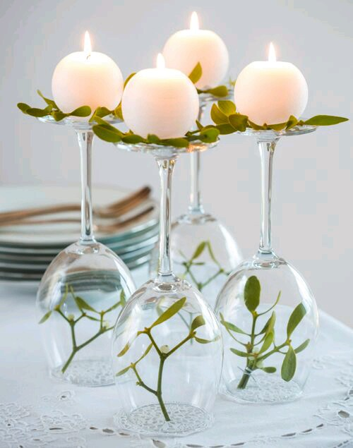 Centros de mesa usando copas de cristal - Centros de mesa con copas ...